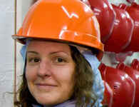 Cern scientist wears hard hat